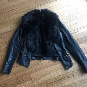 River Island Jackets & Coats - River Island Vegan Leather Jacket Faux Fur Collar